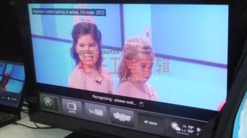 现场展示的采用Dragon TV的智能电视,可通过手势进行控制