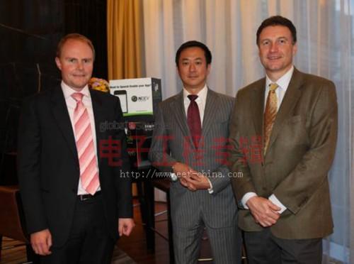 从左到右依次为:JasonStirling,Nuance亚太区高级副总裁、郑裕庆,Nuance大中华区总经理、StuartSharpe,Nuance亚太区销售工程部高级总监
