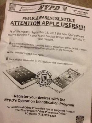纽约警方发传单鼓励用户升级到iOS 7