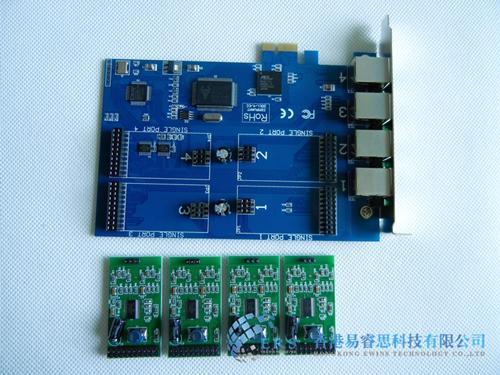 电话语音系统 全新4路pci-e语音卡 ers400ae模拟卡 兼容asterisk