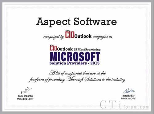 Aspect名列2015微软最有前途解决方案供应商前茅