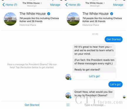 白宫采用Facebook聊天机器人与民众保持联系