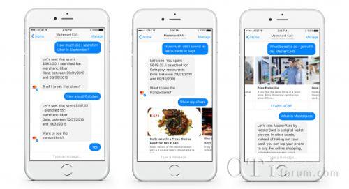 万事达卡将基于FB Messenger平台推出银行聊天机器人