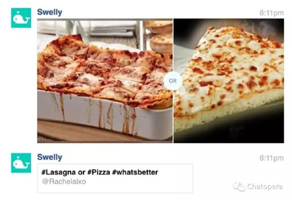 图3-7Facebook Messenger Swelly机器人问,你喜欢披萨还是烤宽面条?